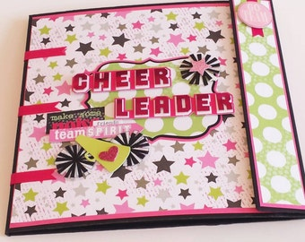 OOAK Cheerleader Scrapbook Mini Album - Accordian Fold Scrapbook Portfolio - 8x8 Mini Album - Cheerleader Cheer Squad Keepsake