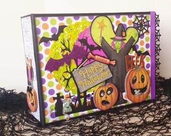 Halloween Decor Mini Album - Photo Journal - Halloween Scrapbook - Witches - Trick or Treat - Memory Album - Handmade - One of a Kind