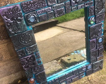 Handcrafted tiled mosaic mirror mirror on the wall unique