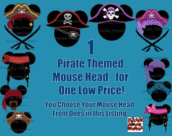 Digital Pirate Mouse Head Pirate Mickey Ears Pirate Minnie Ears Shirt Transfer or Magnet DIY Mouse Head Door Magnet Pirate Mouse Head Shirt