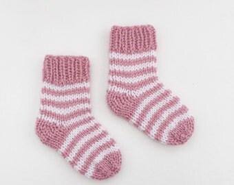 knitted baby socks, pink and white baby socks, stripy newborn socks