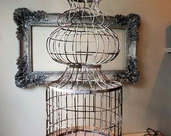 Antique spire birdcage w/ platform rustic farmhouse rusty bird cage shabby cottage chic wedding, home or garden decor anita spero design
