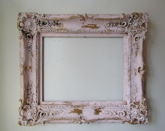 Ornate picture frame wall hanging painted pink distressed large wood gesso shabby cottage chic heavy antique home decor anita spero design