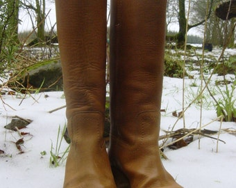 Vintage Tan Leather Women's Long Western Cowboy Campus Boots UK 3 EU 35 1/2