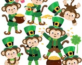 Leprechaun Monkeys Monkey Saint Patrick's Day Saint Patty Irish Day Clipart Set