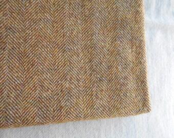 Wool fabric - 'Gold Herringbone' - 12 X 17 inches
