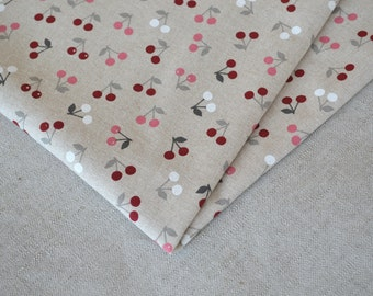Small cherries cotton fabric 19.68 x 55.11 inch