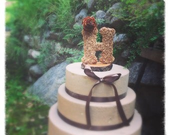 Wooden Letter Wedding Cake Topper Rustic Cake Topper Fall Wedding Cake Topper Wedding Cake Topper