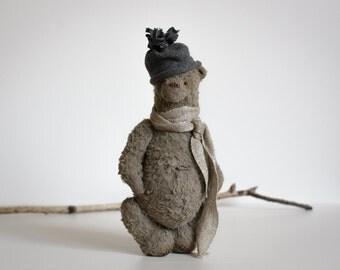 Made To Order Teddy Bear Platon Gray Hat Soft Toys Stuffed Animal Artist Teddy Bears