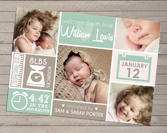 Print-yourself Photo Birth Announcement - For Baby Boy or Girl, Multiple Photo