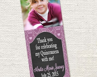 50, 100 or 150 Photo Bookmarks, Quinceanera Invite/Party Favors & Keepsake for your guests