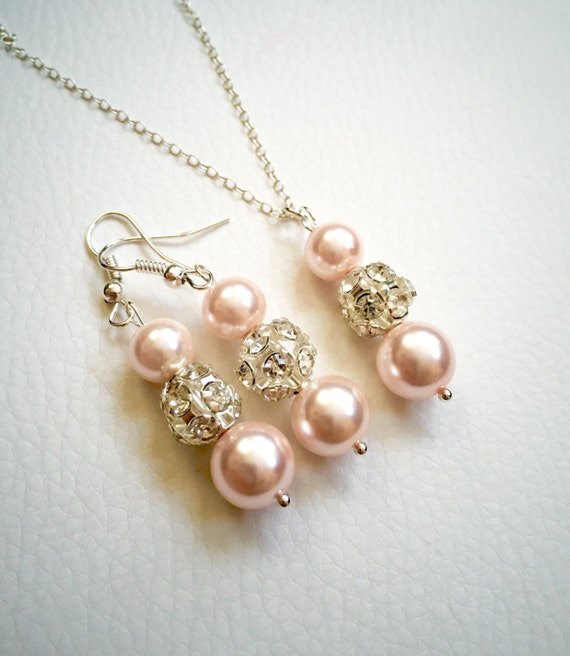 Set of 5 bridesmaid pink pearl jewelry set,pink necklace set of 5,necklace and earrings set of 5 pink and silver, disco ball with pearl,gift
