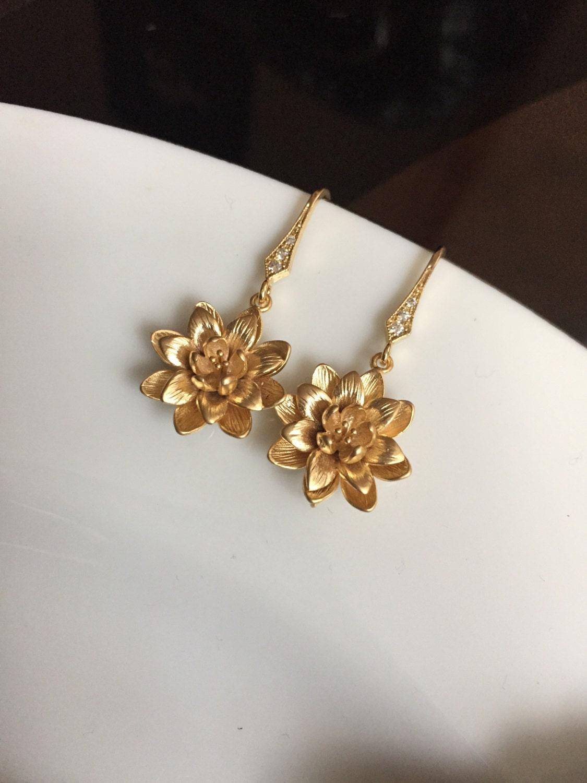 lotus flower earrings lotus earringsflower earrings