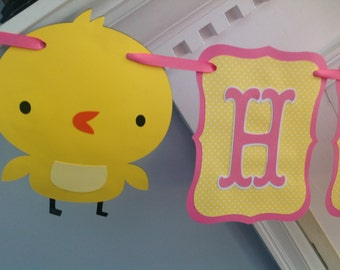 Yellow and Pink BABY CHICK Happy Birthday Girl Banner