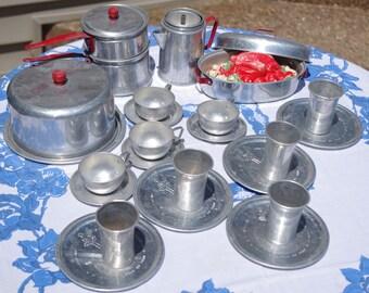 Vintage Toy Dishes Set Aluminum Little Bo Peep 1950s 29 Pieces