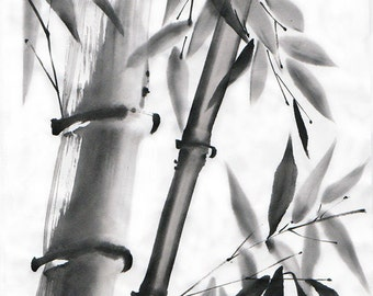 "Original Art  -  ""Bamboo on sunshine""  in Japanese style - sumi-e drawing with wash ink - Wall decor - bamboo brash on rice paper"