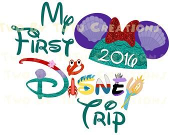 My First Disney Trip Little Mermaid Ariel Custom DIY Printable Image for Iron On Transfer Disney