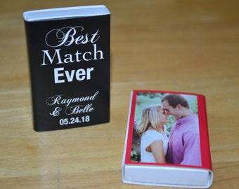 25 Custom Designed Matchbox Wedding Favors - Best Match Ever