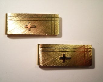 1 Gold Plated Money Clip with Cross