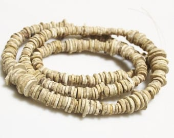 African Ostrich Shell Heishi Beads, Old Ethnic Beads, Jewelry Supplies (V84)