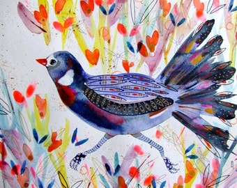 Bird Watercolor Bird Painting Bird Flowers Bird Fine Art Bird Wall Art - Original Watercolor Bird Flowers - Animal Watercolor - Home Decor