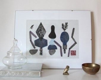 Zen Garden XI. original linocut monotype print, geometric tribal art
