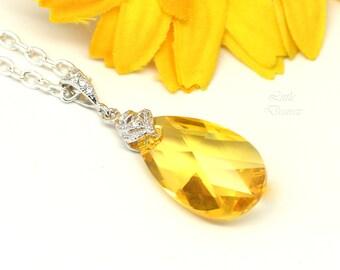 Swarovski Crystal Yellow Necklace Sunflower Necklace Yellow Bridesmaid Jewelry Gift Lemon Zest Canary Yellow Light Topaz Necklace LT32N