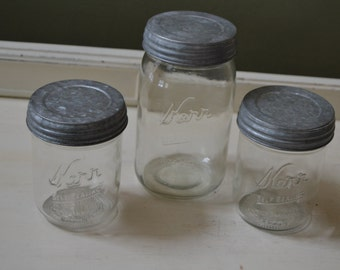 3  Wide Mouth Kerr Jars QUART & PINTS Canning Fruit Jars w/Galvanized Lids