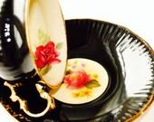 Elizabethan- vintage tea cup- vivid pink roses -black and gold-