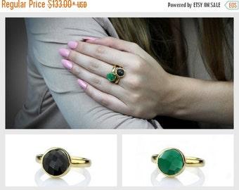 Onyx gemstone rings set,stacking rings,bridal rings,green black stone rings,stack rings,rose gold rings,solid gold ring