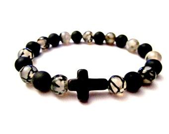 Agate Cross Bracelet. Cross Bracelet. Sideways Cross. Onyx Bracelet. Spiritual Bracelet. Cross Jewelry. Side Cross Bracelet Onyx Agate Cross