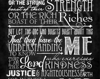Scripture Art Jeremiah 9:23-24 Chalkboard Style