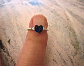 Vintage Blue Sapphire CZ Heart Ring