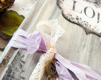 Hand made Wedding Guestbook, soft lilac and blues shabby chic vintage style