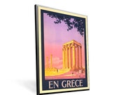Vintage Travel Poster Reprint En Grece on 8x11.5 on Popmount Ready to Hang FREE SHIPPING