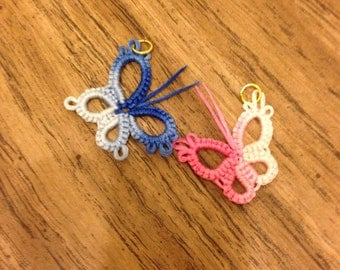 Butterfly charm  tatted in pink or blue