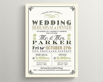 Printable Rehearsal Dinner Invitation \ Vintage Invitation \ Olive and Tan Invite (RD05)