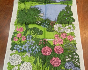 Inverewe Gardens souvenir tea towel - Pat Albeck vintage linen - Property of National Trust for Scotland - like new