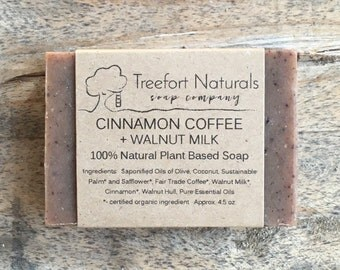 Cinnamon Coffee + Walnut Soap - Handmade Cold Process, Organic, All Natural, scented, vegan, walnut milk soap, exfoliating soap