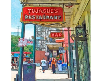 Tujagues Restaurant, New Orleans Art, NOLA Art, French Quarter Scene, Old Restaurant NOLA, Colorful Sign Print, French Quarter Art, KORPITA