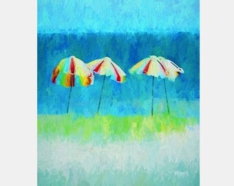 Colorful Beach Umbrellas Impressionistic Glicee Print 8x10 11x14 16x20 Korpita