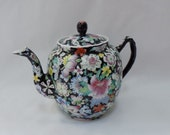 Chinese Famille Noire Enameled Floral Black Porcelain Millefleur Teapot - Vintage Asian Oriental Chinoiserie Home Decor Collectible