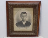 "Antique Charcoal Pencil Hand Drawn Portrait - Young Man Boy - Victorian Civil War Era - Gesso Oak Frame - Large 29"" x 25"" Wall Hanging Art"