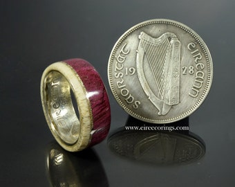 Man's wood ring purple heart wood rings with deer antler