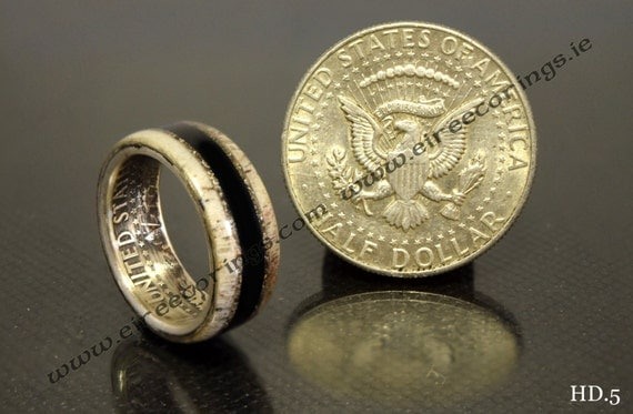 Wood wedding rings with USA half dollar and 5000 yr old Irish