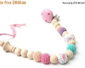 25% off Pacifier clip, Baby dummy chain, Crochet wooden teething toy holder, stroller dummy chain, Pastel Easter baby teething toy