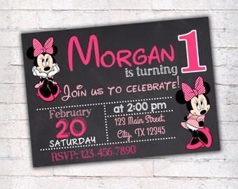 Minnie Mouse Birthday Invitation, Printable Invitation, Disney Party, First Birthday Invitation, Chalkboard Invitation, 014