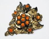 Flower Dress Clip  LN Little Nemo Orange  rhinestone antique gold tone