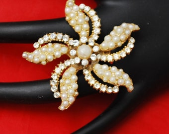 Flower Brooch with Gold tone metal pearls and rhinestone  mid century Atomic pin