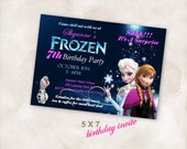 5X7 Birthday party invite Invitation Instant Download Just add your info and print!  Frozen elsa anna birthday party